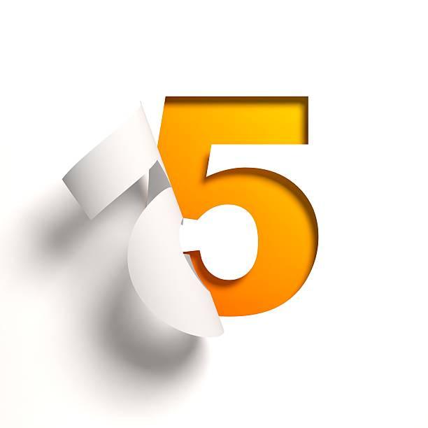 curl carta carattere numero 5 - numero 5 foto e immagini stock
