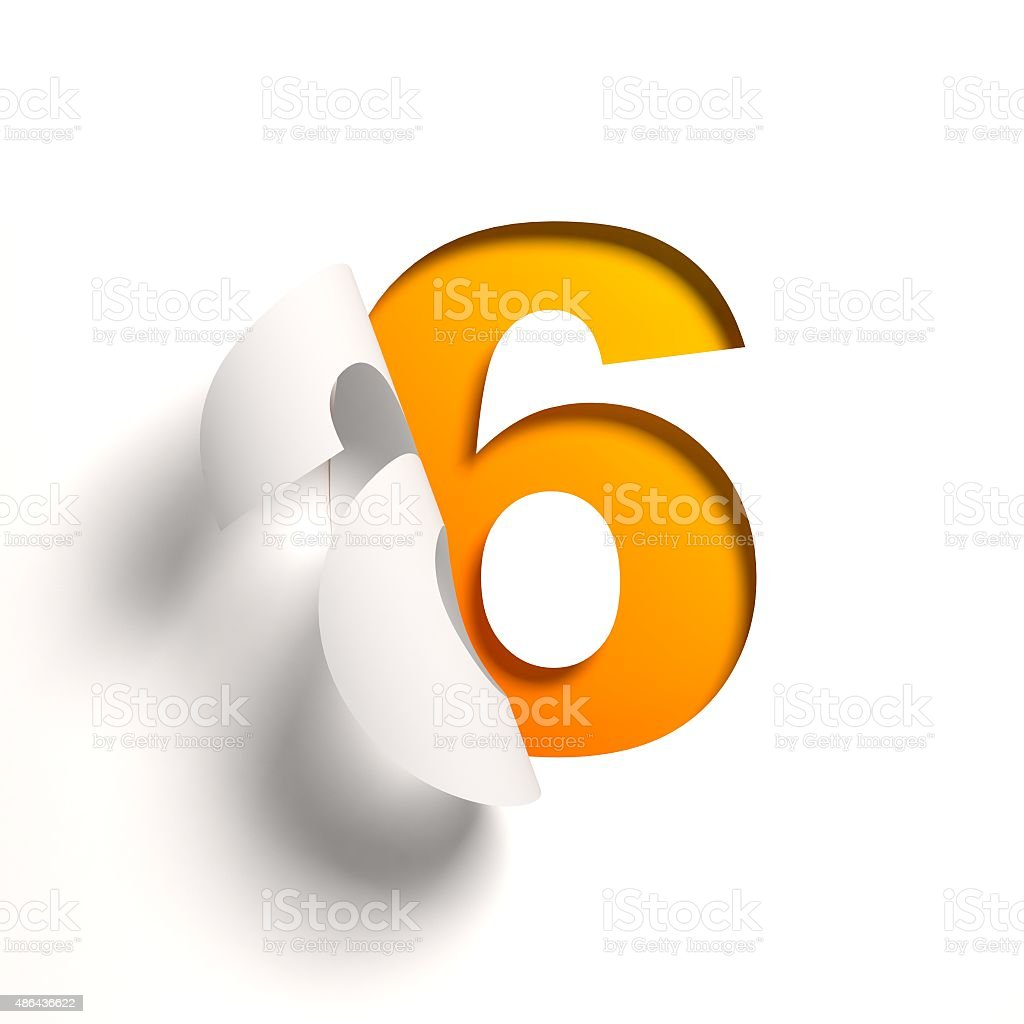 Curl paper font number 6 stock photo