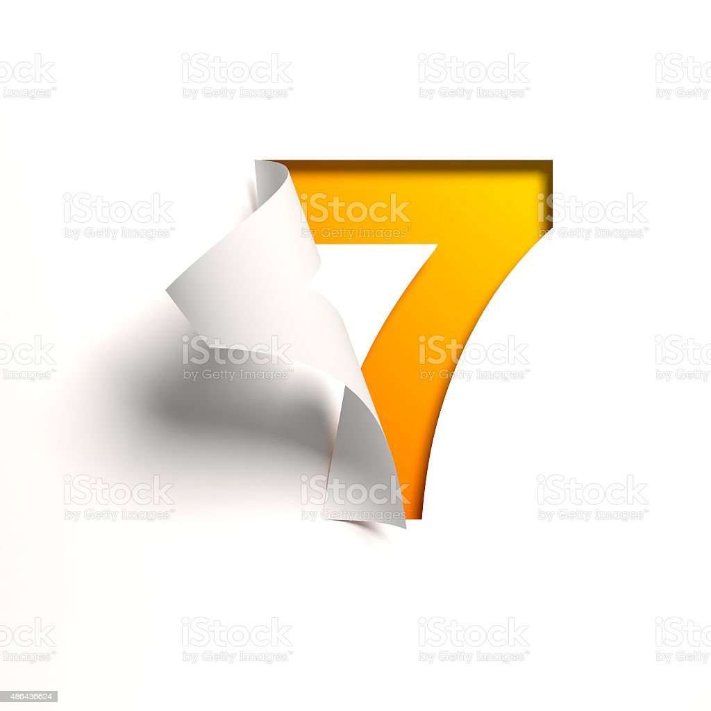 Curl paper font number 7 stock photo