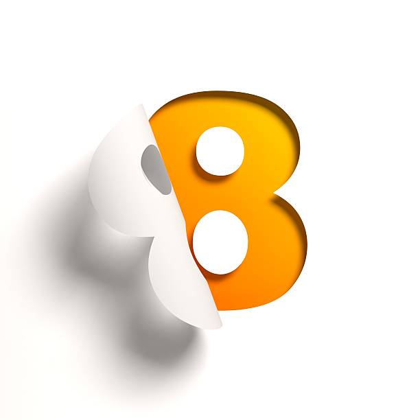 curl paper font number 8 - number 8 stock pictures, royalty-free photos & images