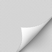 istock Curled corner of paper with shadow on transparent background 686931706