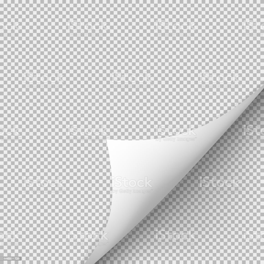 Curled corner of paper with shadow on transparent background stock photo