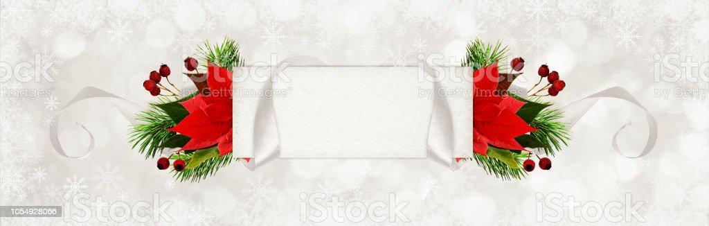 Weihnachtsstern Für Tannenbaum.Gewellt Grau Seidenband Und Eine Papierkarte Für Text Mit Tannenbaum