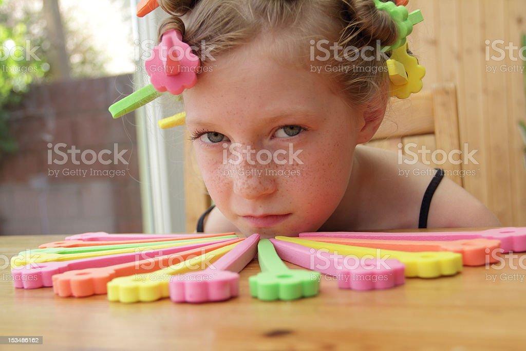 curlers around chin stock photo