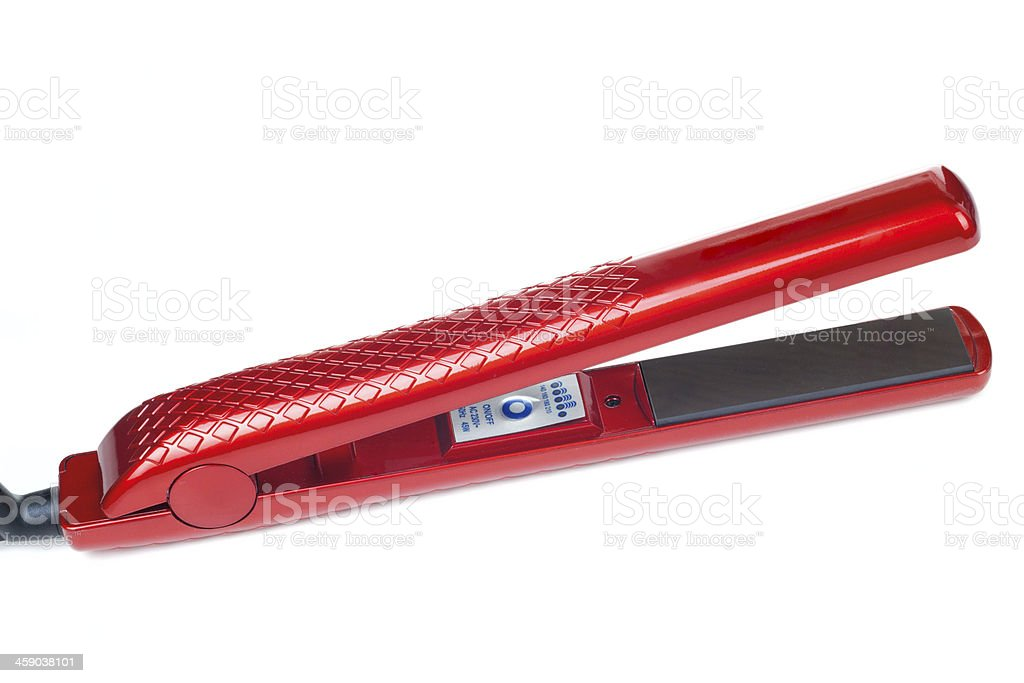 Curling iron with ceramic plates stock photo