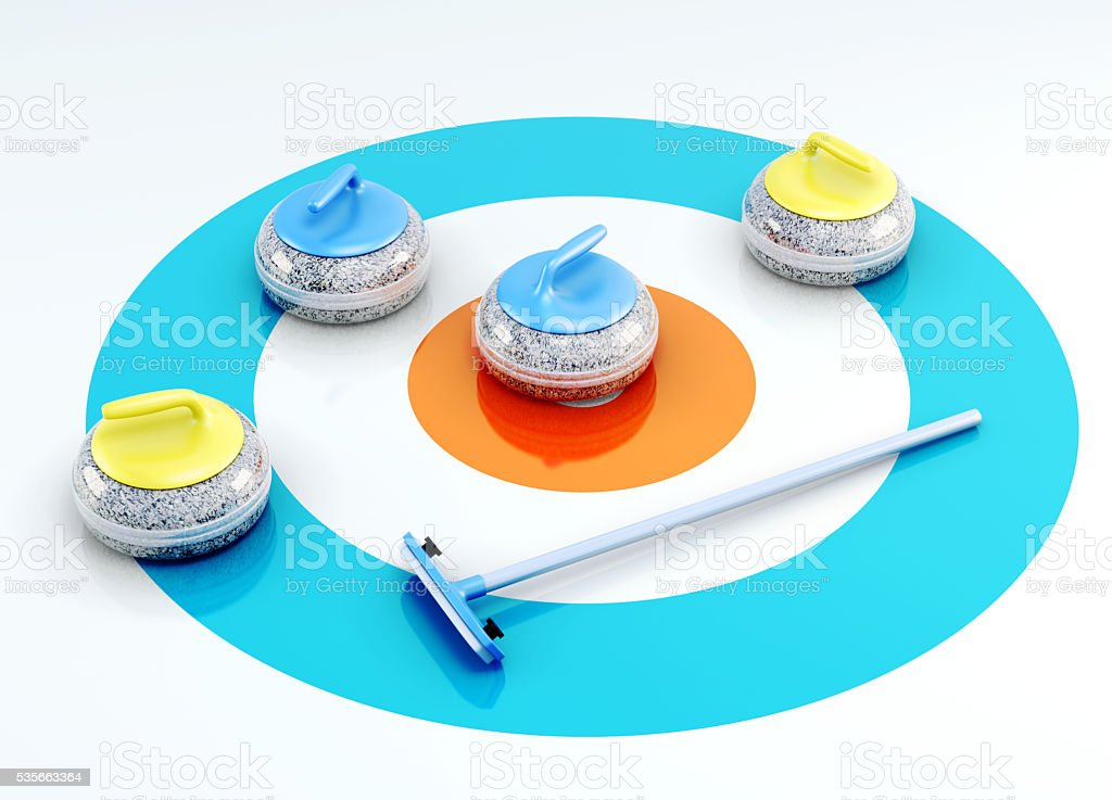 Curling stones and brush on the ice. 3d render image stock photo