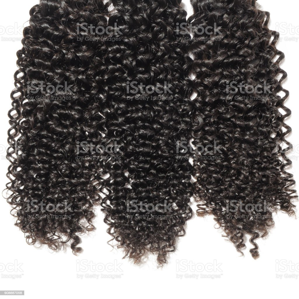 Curly Black Human Hair Weave Extensions Bundles Stock Photo More