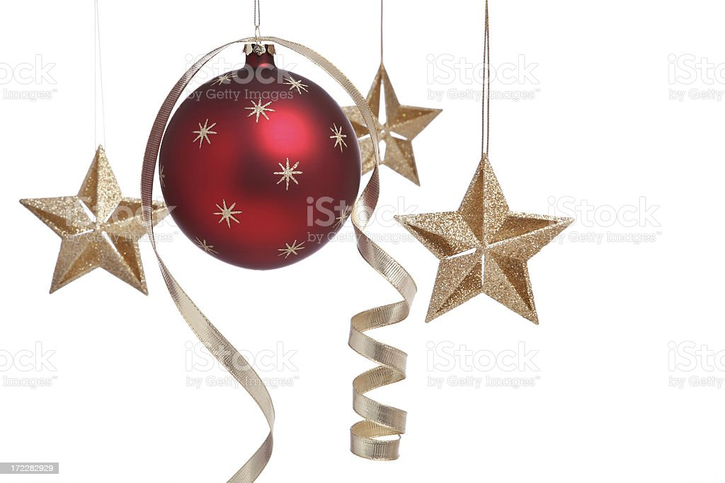 Curly Christmas Bauble and Stars royalty-free stock photo