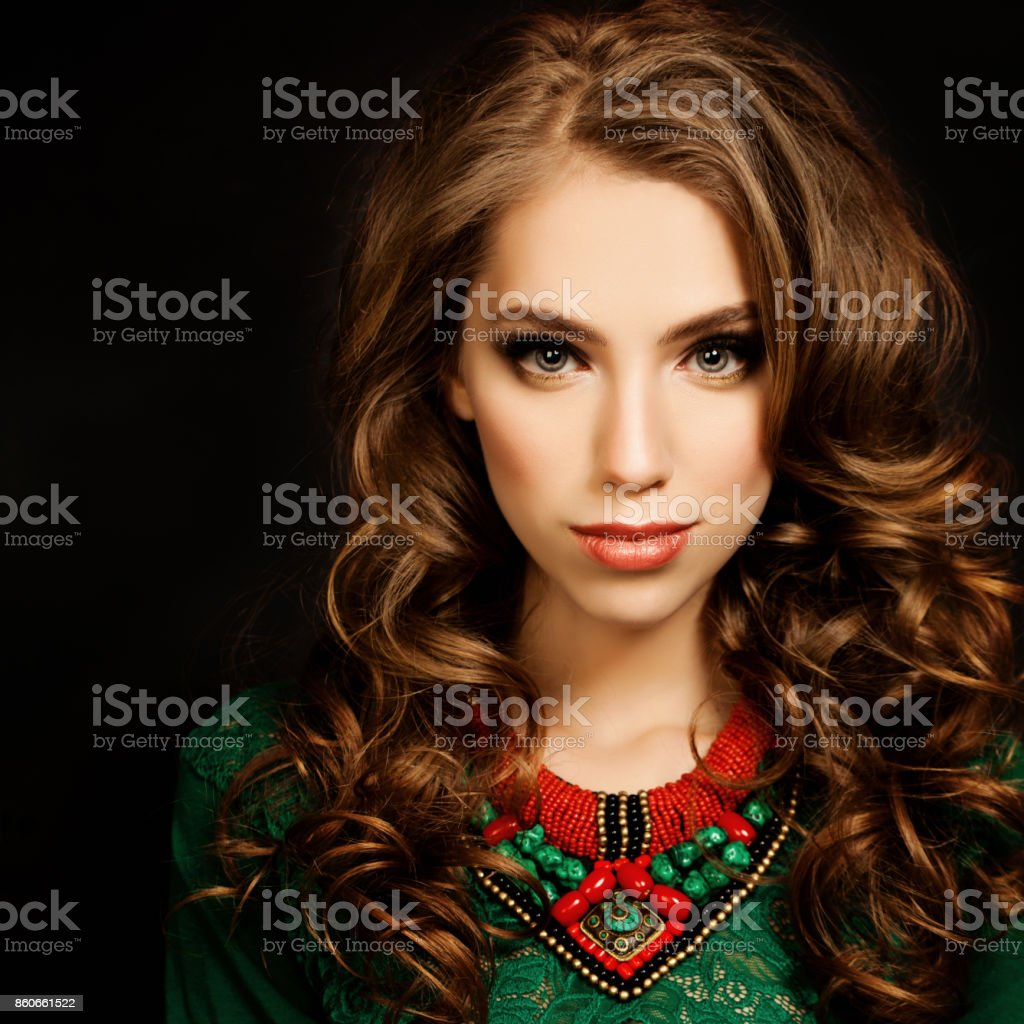 Curly Hair Girl Beautiful Fashion Model Woman Curly Coloring
