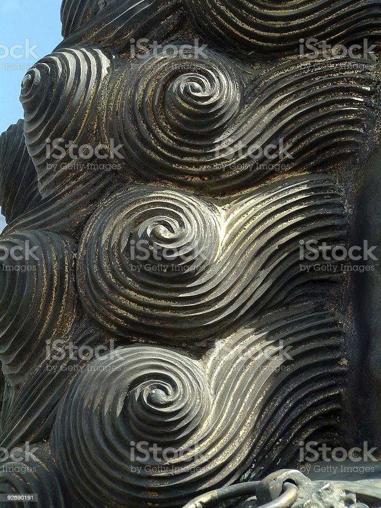 Curly Hair of One Chinese Statue Lion stock photo