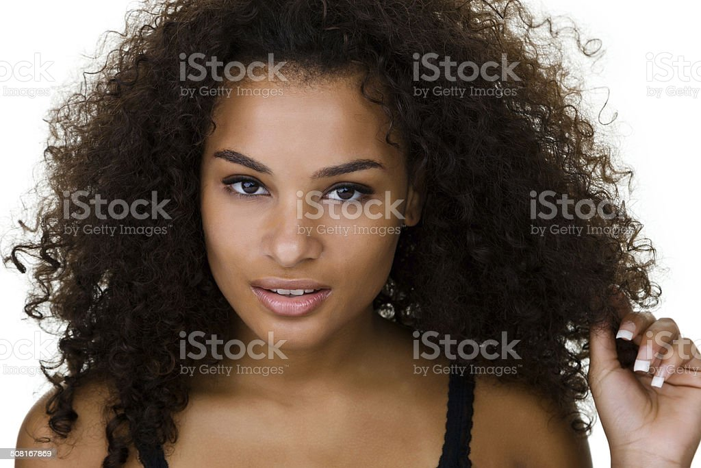 Curly haired woman stock photo