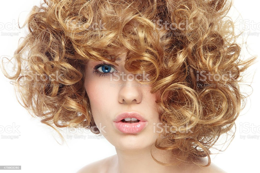 Curly hairstyle stock photo