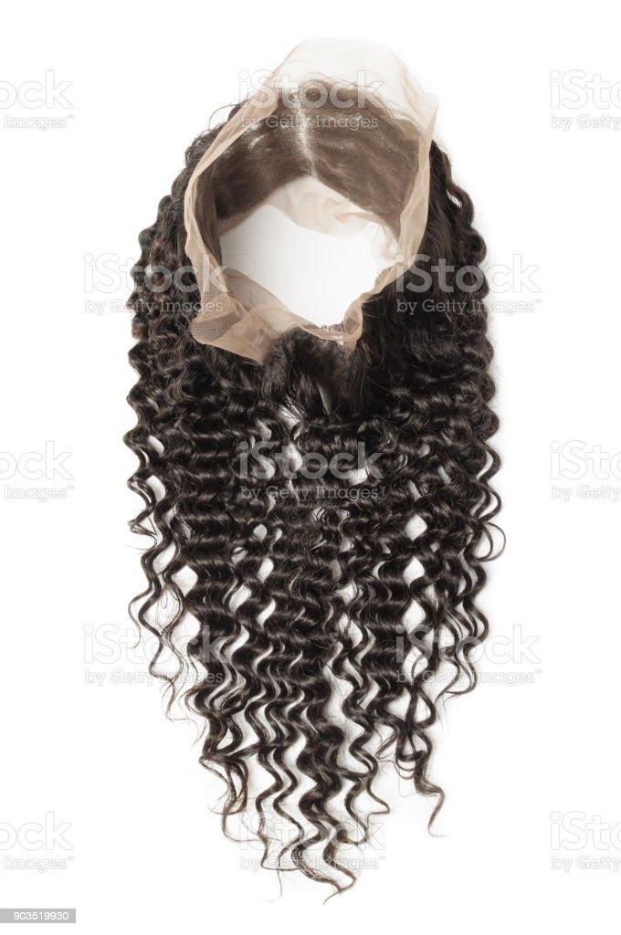 Cacheado natural preto cabelo humano tece extensões um círculo rendas costuradas fechamento frontal - foto de acervo