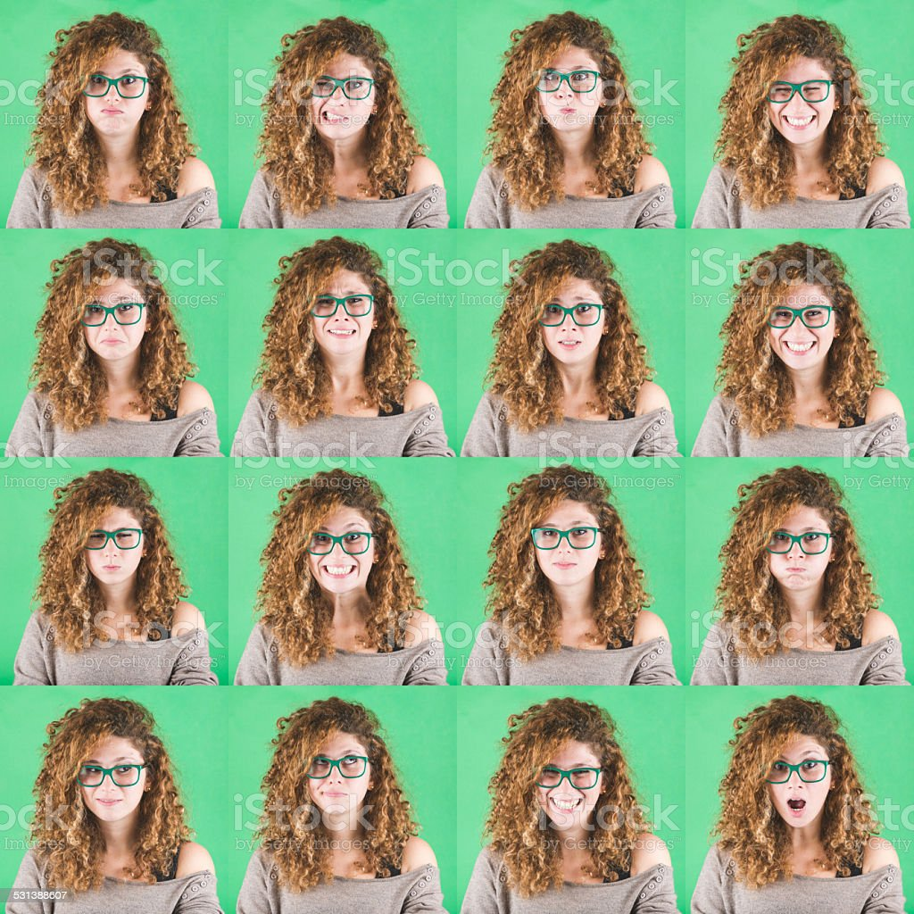 Curly Young Woman Multiple Portraits on Green Background stock photo