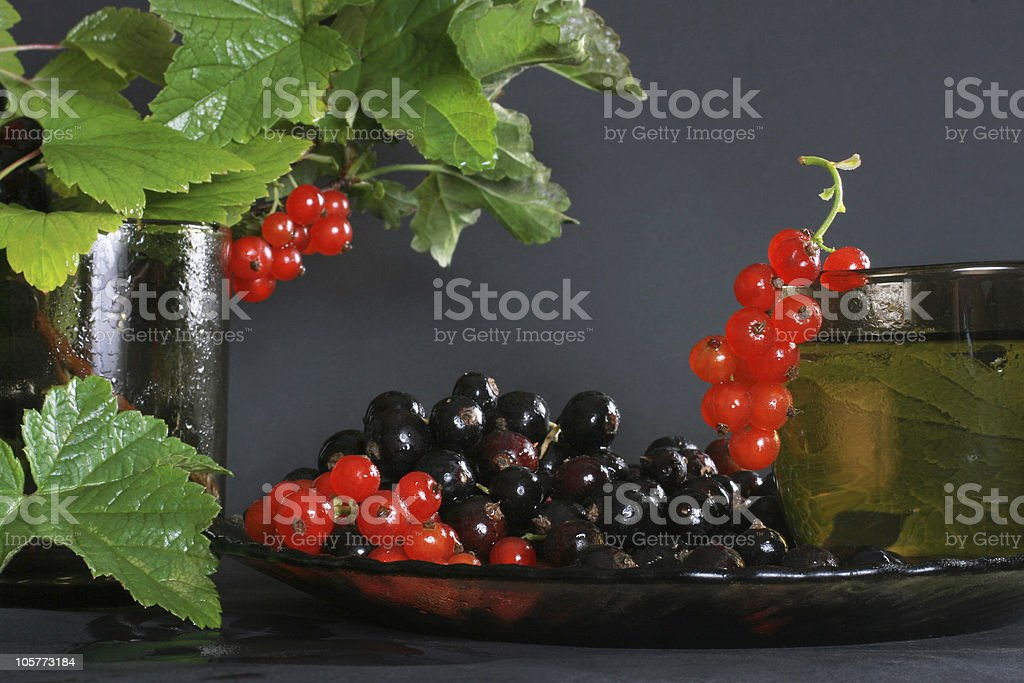 Currants and herbal tea royalty-free stock photo
