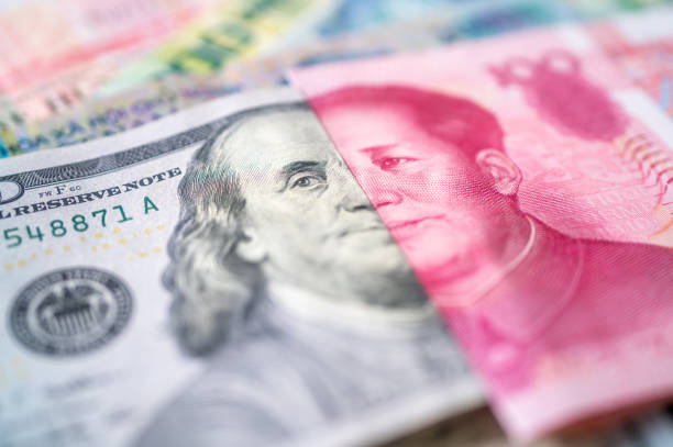 currencies of dollar, yuan and another money stock photo