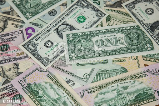 istock USA Currency - 1, 5, 10, 20, 50 Dollar banknotes 615881358