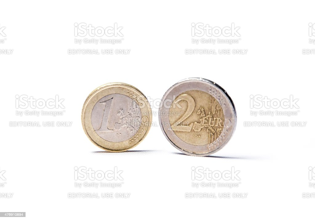 Currency - 1 & 2 Euro Coins stock photo