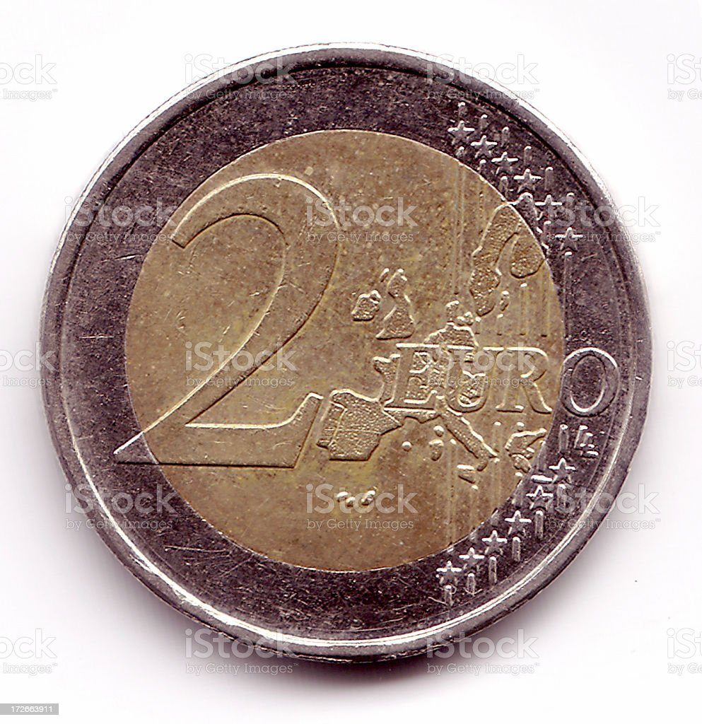 Currency 2 Euro Coin stock photo
