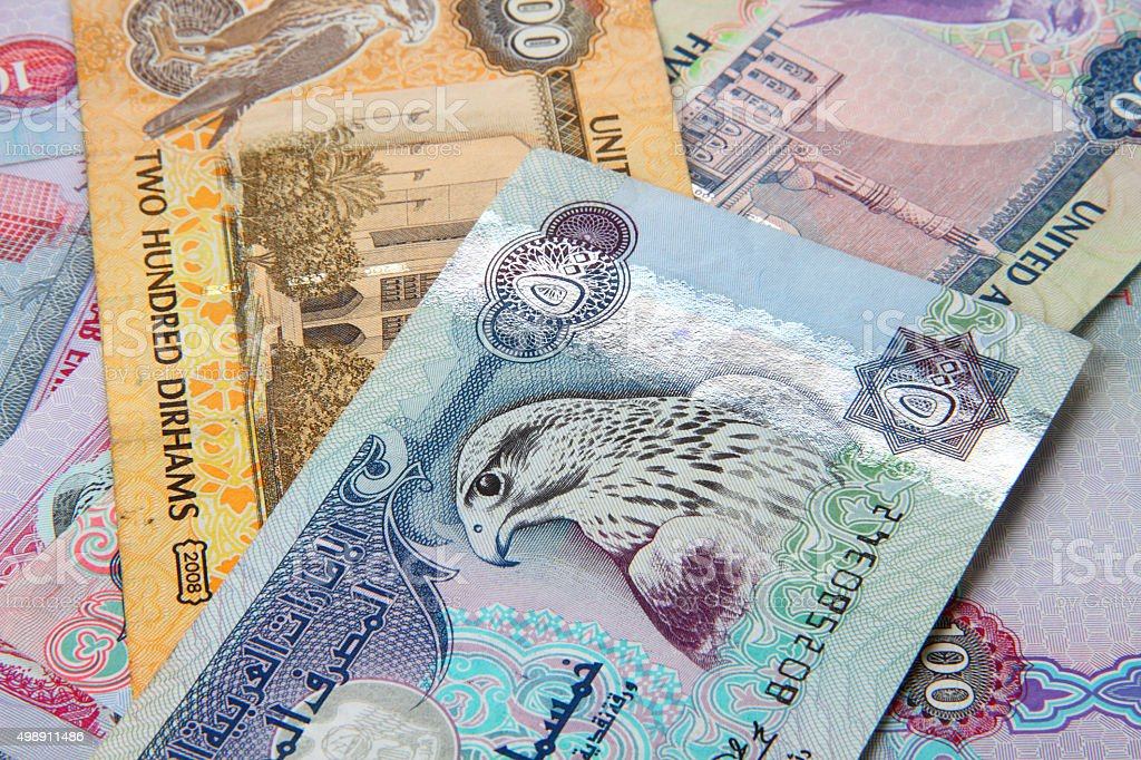 UAE currency - 500 dirhams closeup note stock photo