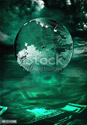 istock US Currency and Old CLock 651214268