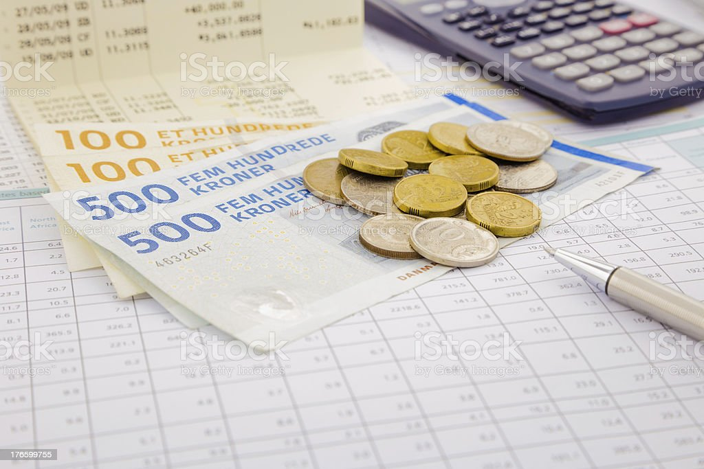 Currency and paper money of Denmark stock photo
