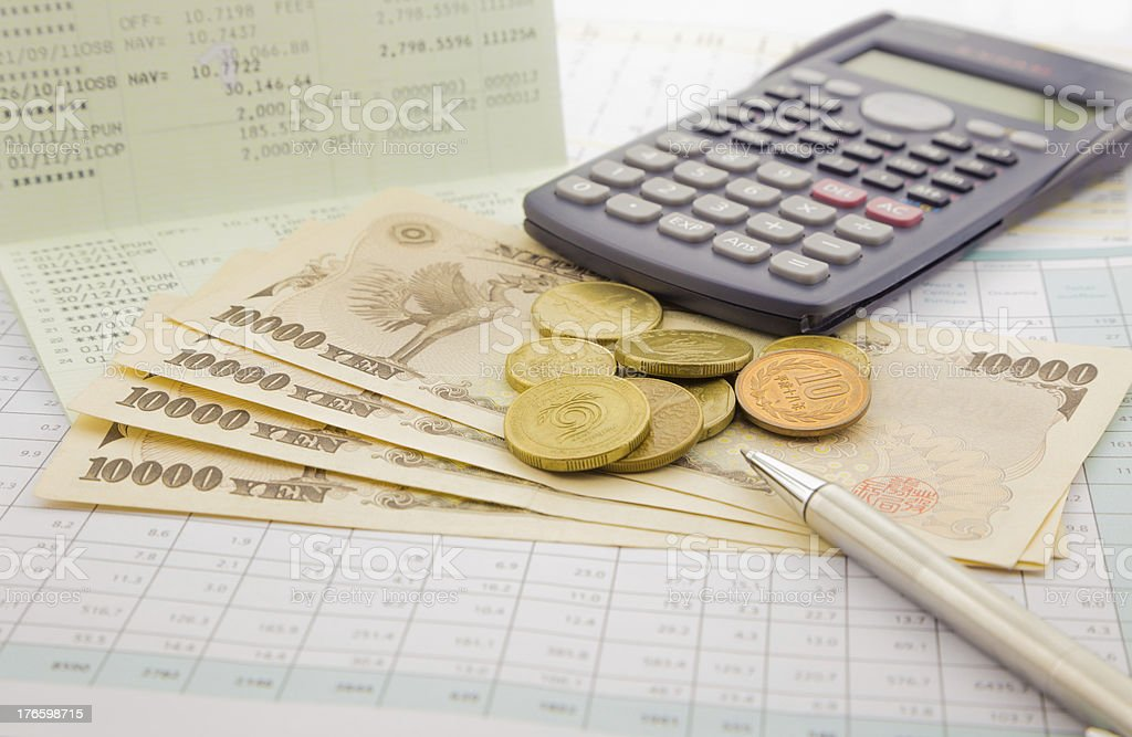 Currency and paper money of Japan stock photo