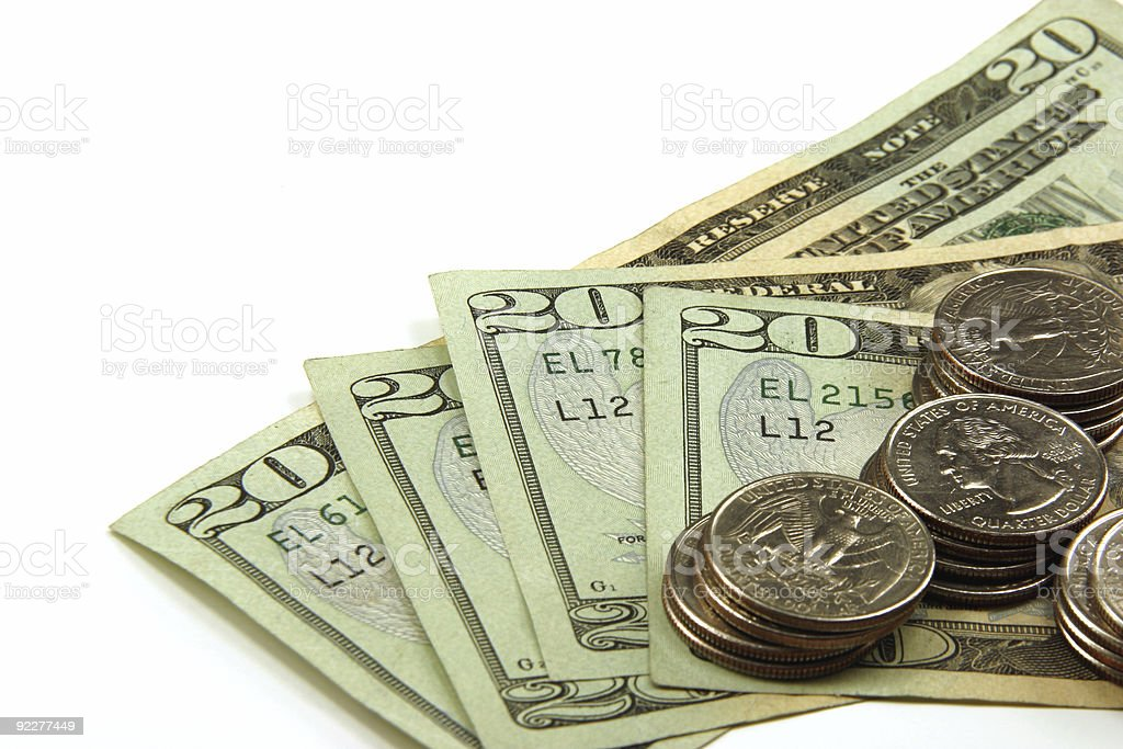 US Currency, Bills and Coins royalty-free stock photo