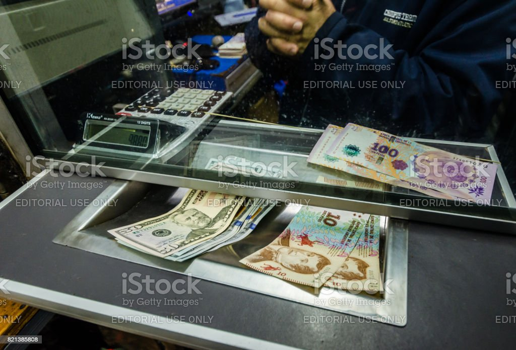 Currency change on the black market using parallel dollar blue value on Florida street stock photo