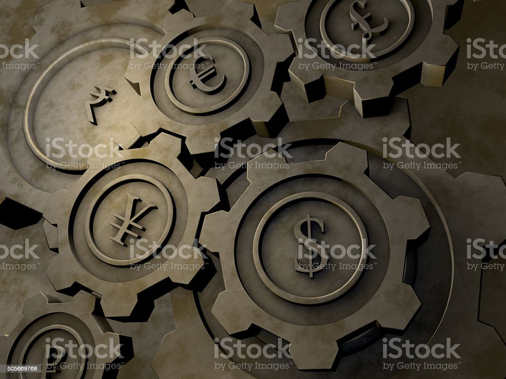 Currency cogwheels stock photo