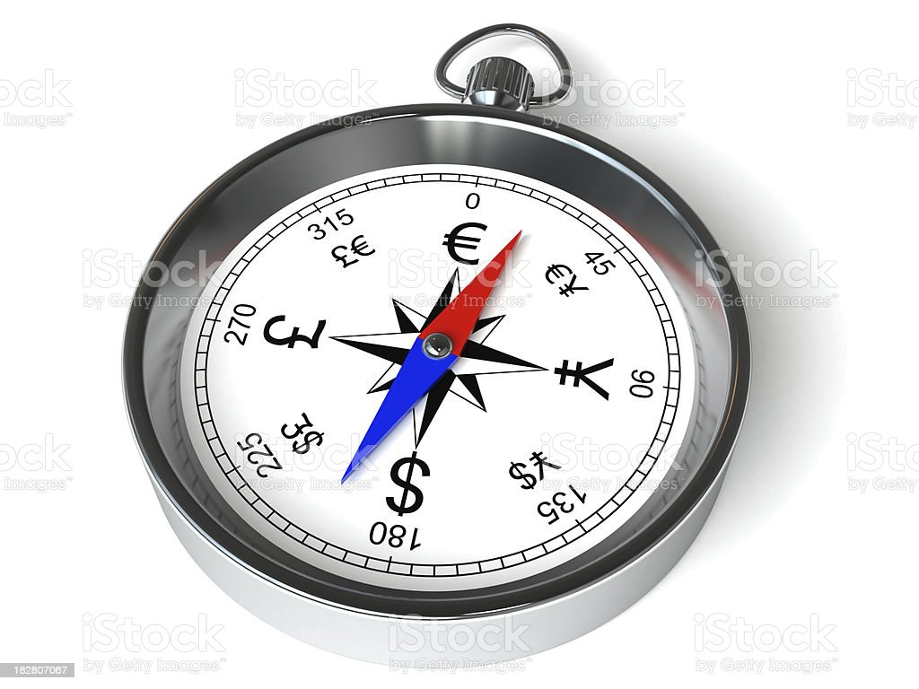 Currency compass royalty-free stock photo