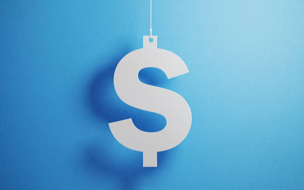 currency concept - white american dollar sign with string over blue background - dollar sign stock photos and pictures
