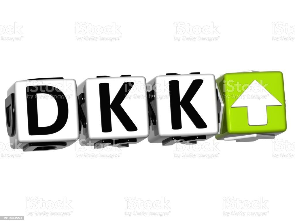 Currency Dkk Rate Concept Symbol Button On White Background Stock