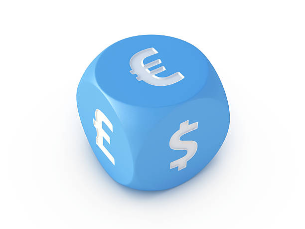 """Currency Euro Pound Dollar Blue Dice """"3D Render of a blue dice, which is showing the currency symbols Euro, Dollar and Pound. Very high resolution available!Related images:"""" blue 3d business NOT map NOT background stock pictures, royalty-free photos & images"""