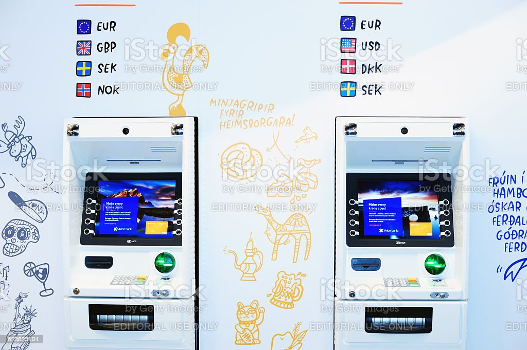 Currency exchange kiosks in Keflavik Airport stock photo