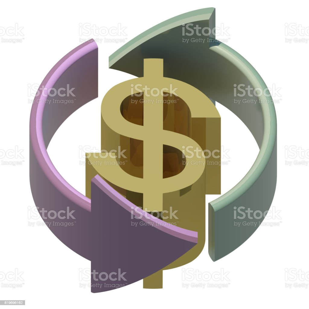 Currency Exchange Symbol Isolated On White 3d Rendering Stock Photo