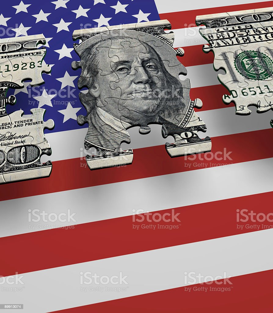 USA Currency Flag Puzzle royalty free stockfoto