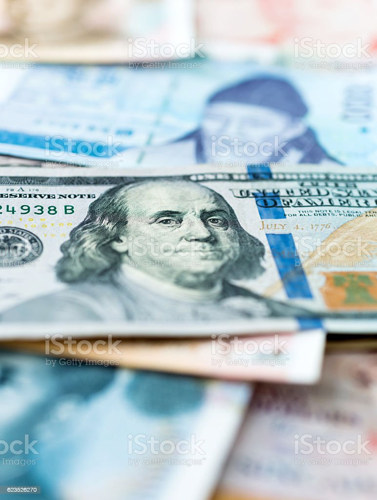 Currency from different countries of the world stock photo