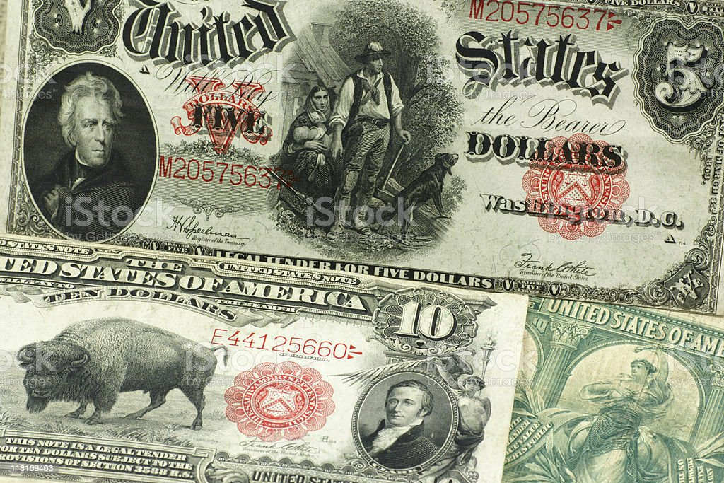 U.S currency from the past stock photo