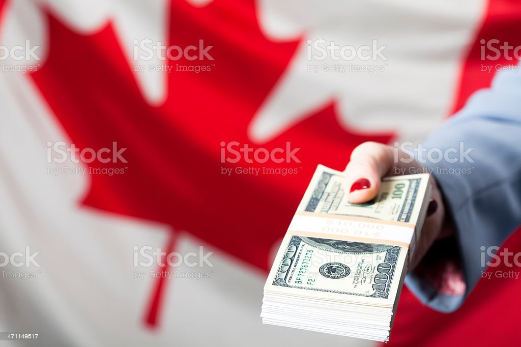 US currency held in hand royalty-free stock photo