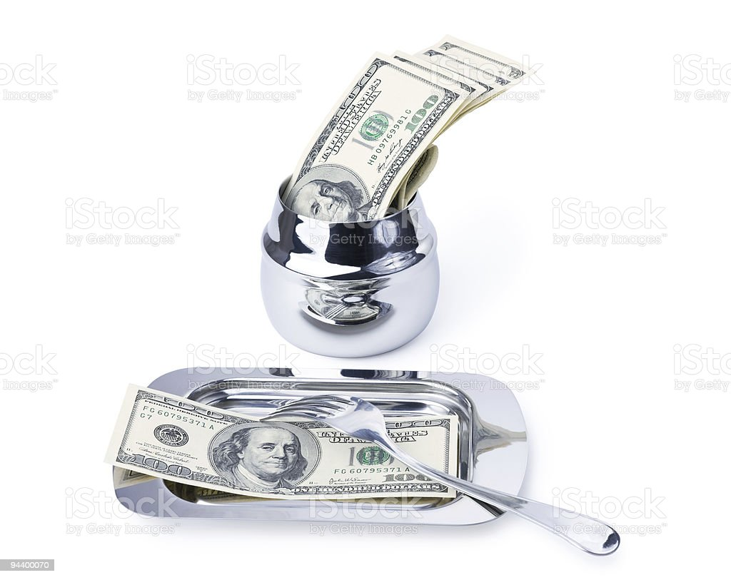 Currency lunch for businessman royalty-free stock photo