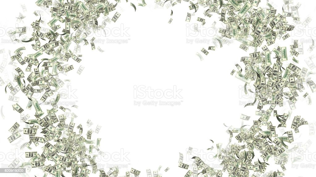 Currency Money Dollar Flying in space - a lot of notes with text space stock photo