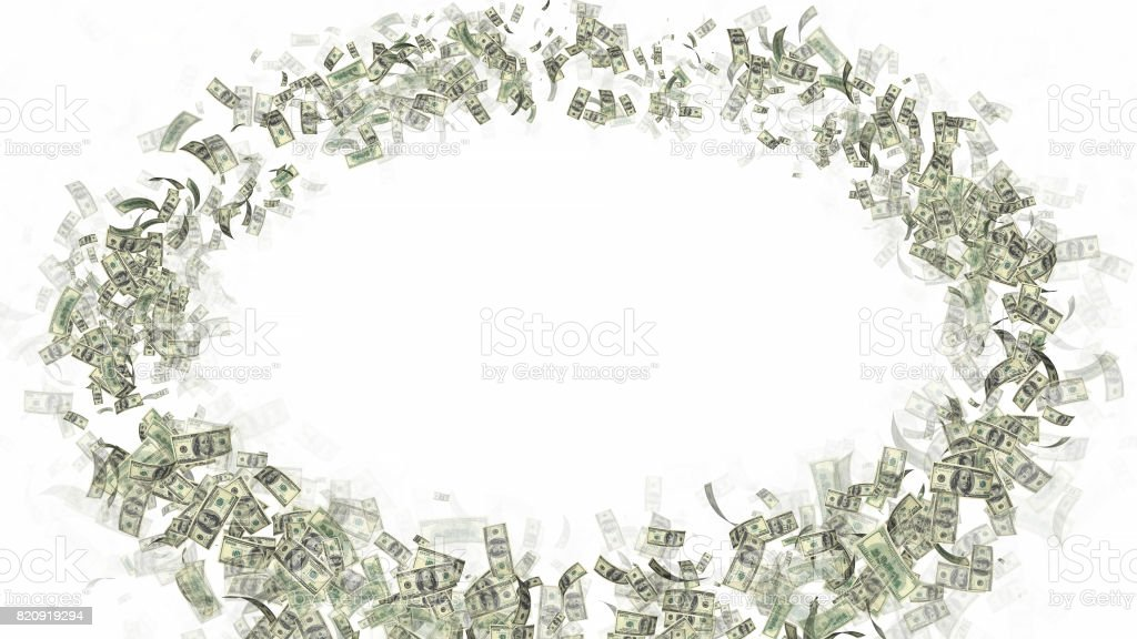 Currency Money Dollar Flying in space - lot of notes with text space stock photo