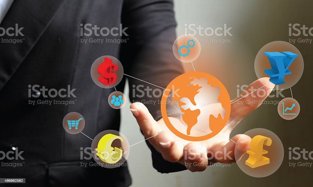 currency money symbols on hand , business money concept stock photo
