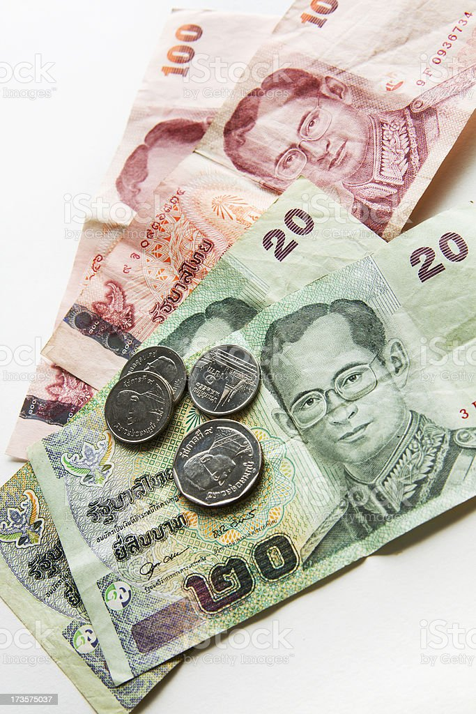 Currency of Thailand Baht Bills, Coins Vt royalty-free stock photo