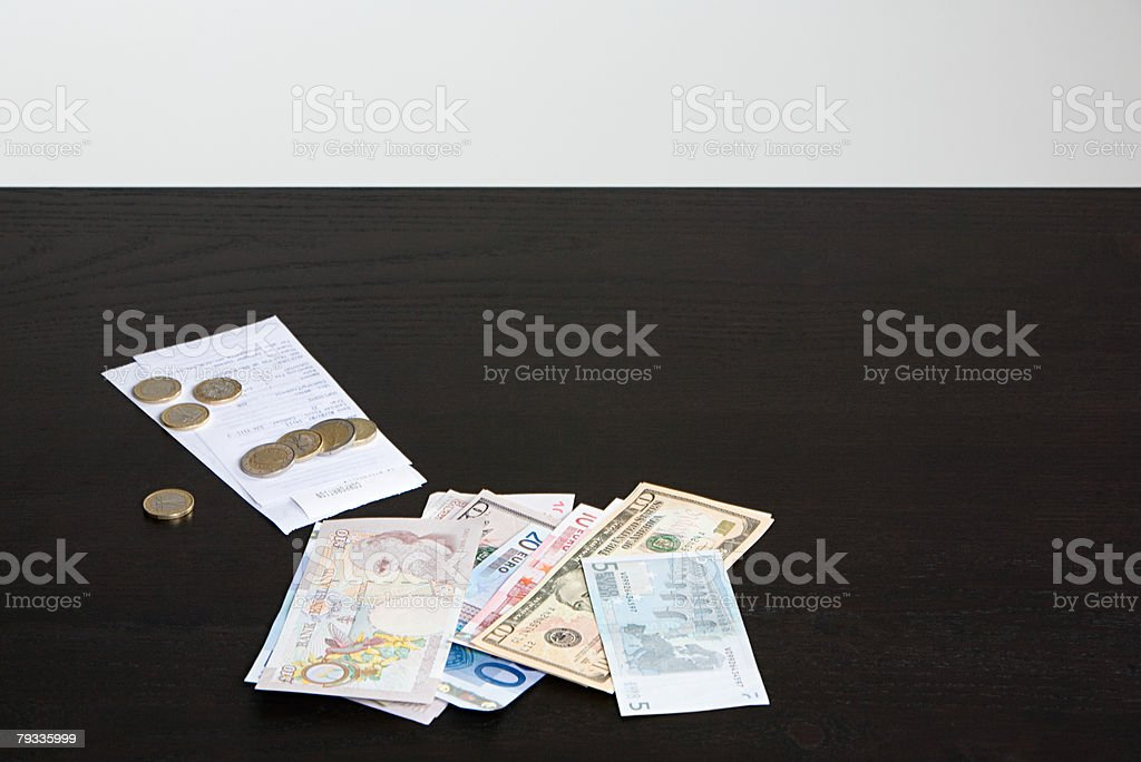 Currency on counter 免版稅 stock photo