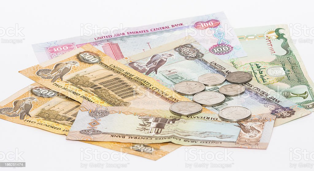 UAE currency on white background stock photo