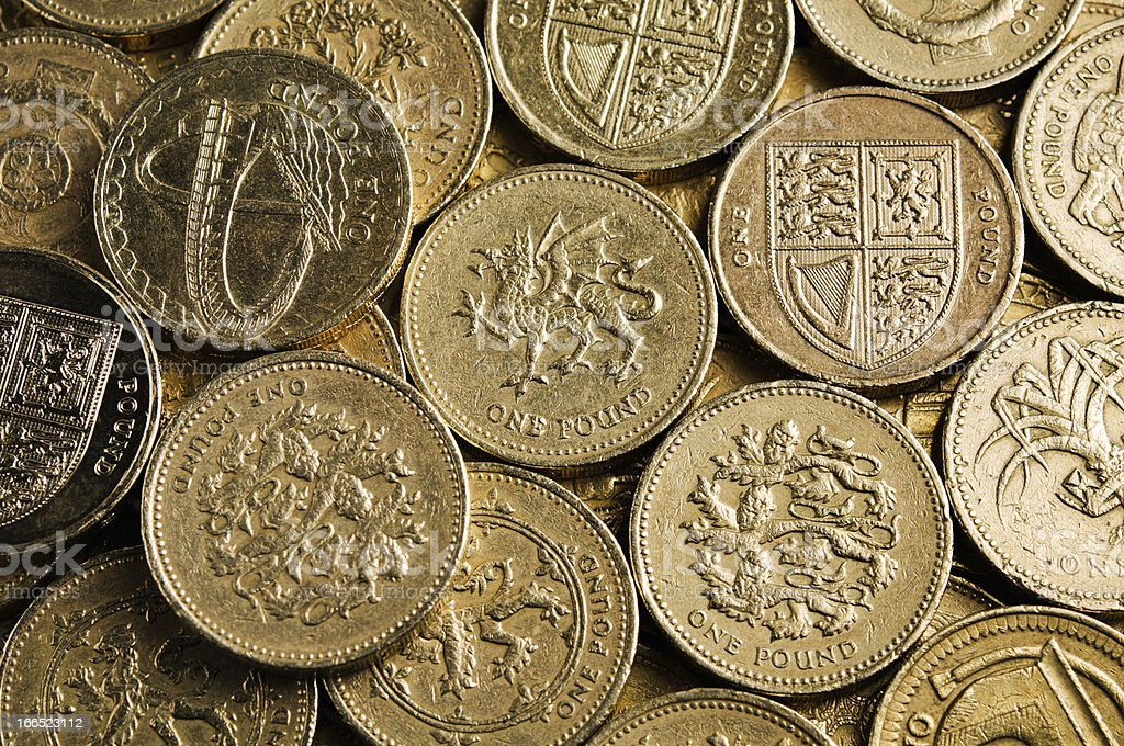 UK Currency: one pound coins stock photo