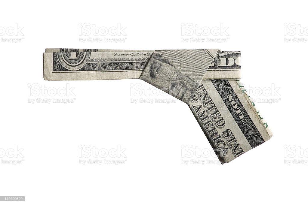 US Currency Origami Handgun stock photo