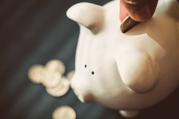 Currency. Closeup of a Hand Putting a Coin in Piggy Bank nest egg stock pictures, royalty-free photos & images
